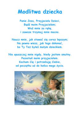 Modlitwa dziecka - Przedszkole Rodziny w Mławie