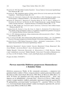 Pierwsze stanowisko Helleborus purpurascens (Ranunculaceae) w