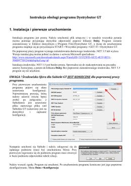 Instrukcja obsługi programu Dystrybutor GT 1. Instalacja i pierwsze