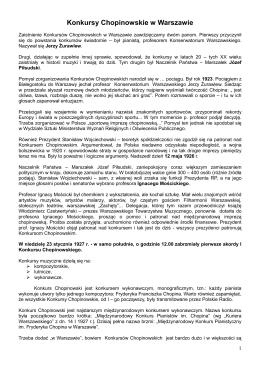 Konkursy Chopinowskie w Warszawie