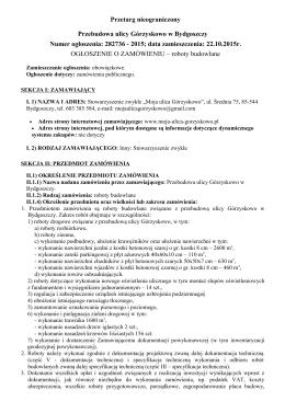 Przetarg nieograniczony Przebudowa ulicy Górzyskowo w