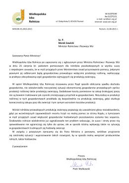Pismo do MRiRW ws planowanej pomocy dla poszkodowanych w