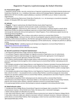 Regulamin Programu Lojalnościowego dla Stałych Klientów