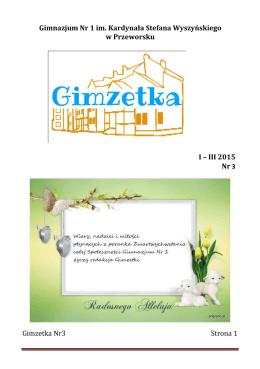 Nr 3 I-III 2015 - Gimnazjum nr 1 im. Kardynała Stefana