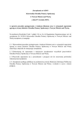 Zarządzenie nr 6/2015 - Ośrodek Pomocy Społecznej Nowe Miasto
