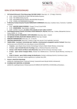 Kalendarium planowanych wydarzeń w roku 2015