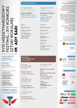 NOWY SĄCZ, - Międzynarodowy Festiwal i Konkurs Sztuki wokalnej