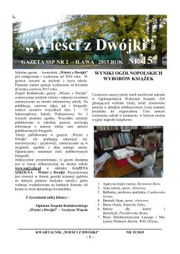 """""""Wieści z Dwójki"""" - Samorządowa Szkoła Podstawowa nr 2 w Iławie"""