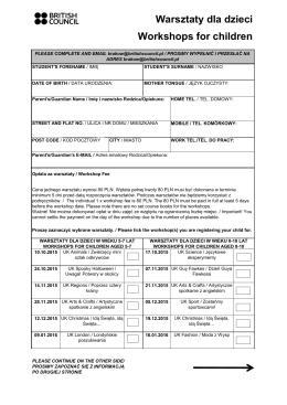 Formularz rejestracji na warsztaty dla dzieci 2015