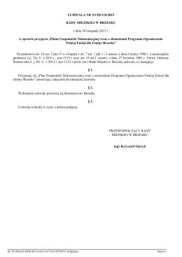 Uchwala Nr XVIII/124/2015 z dnia 30 listopada 2015 r.