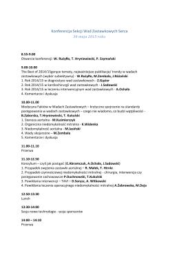 Konferencja Sekcji Wad Zastawkowych Serca