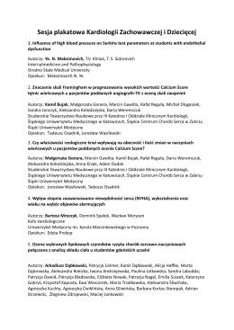 Sesja plakatowa Kardiologii Zachowawczej i Dziecięcej