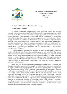 List Biskupa Siedleckiego na Wielki Post 2015