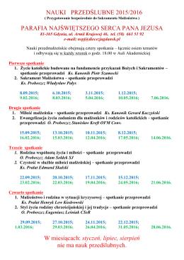 NAUKI PRZEDŚLUBNE 2015/2016 PARAFIA NAJŚWIĘTSZEGO