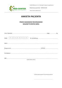 Pobierz ankiete - Medyczne Centrum Diagnostyczne MED