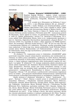 CV – SOBIESZCZAŃSKI Tomasz Krzysztof