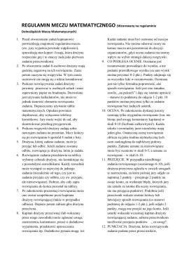 REGULAMIN MECZU MATEMATYCZNEGO (Wzorowany na