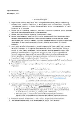 "Regulamin Konkursu ""MISJA BRAAS 2015"" §1. Postanowienia"