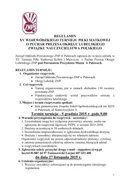 Regulamin turnieju - ZNP