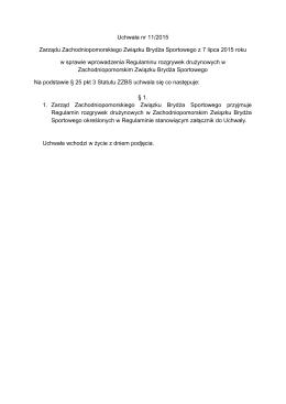 Uchwała nr 11/2015 w sprawie wprowadzenia Regulaminu