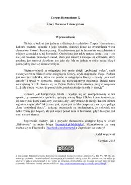 Corpus Hermeticum X - Klucz Hermesa Trismegistosa