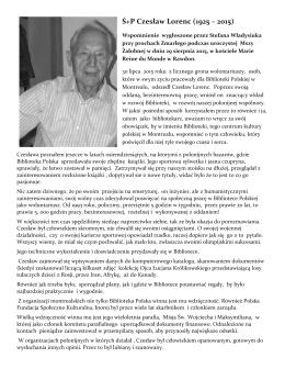 Wspomnienie o Czesławie Lorencu