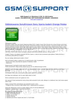 Odblokowanie SonyEricsson Sony Xperia kodem - GSM