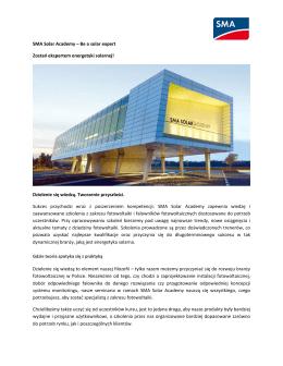 SMA Solar Academy – Be a solar expert Zostań ekspertem