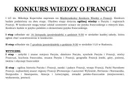 konkurs wiedzy o francji - I Liceum Ogólnokształcące im. Mikołaja