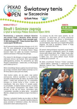Newsletter sobota - Pekao Szczecin Open 2015