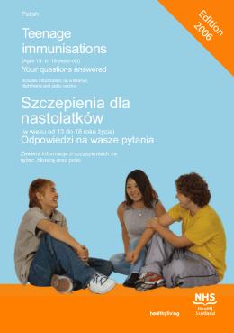 Szczepienia dla nastolatków