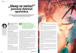 """Artykuł """"Sleep or swim"""" Przemysław Lutomski"""