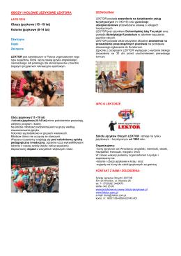 oferta obozów i kolonii językowych LEKTORA 2015