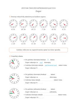 Zestaw ćwiczeń wprowadzających – zegar