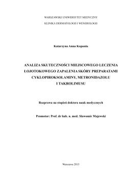 Streszczenie rozprawy lek. K. Kopania