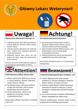 Uwaga! Achtung! - Główny Inspektorat Weterynarii