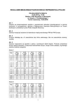 Regulamin Meczu Międzynarodowego Reprezentacji Polski
