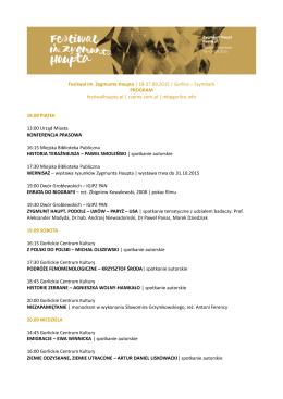 program festiwal haupta - Festiwal im. Zygmunta Haupta