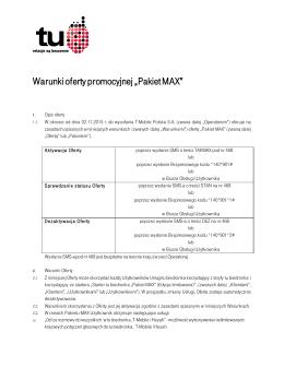 """Warunki oferty promocyjnej """"Pakiet MAX"""""""