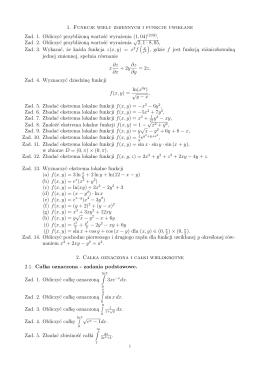 1. Funkcje wielu zmiennych i funkcje uwikłane Zad. 1. Obliczyć