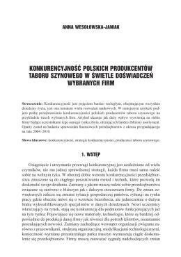 konkurencyjność polskich produkcentów taboru szynowego w