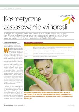 Kosmetyczne zastosowania winorośli, dr Anna Oborska, Chemical