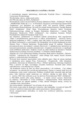 CV Małgorzata Calińska-Mayer