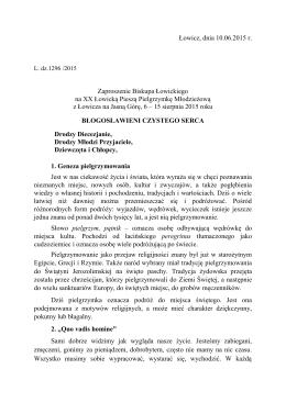 Zaproszenie ks. Biskupa na XX ŁPPM