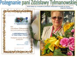 Pożegnanie pani Zdzisławy Tylmanowskiej