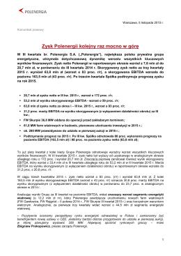 2015-11-05 Zysk Polenergii kolejny raz mocno w górę