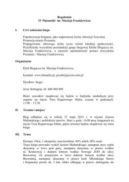 Pobierz Regulamin 15stki - Klub Biegacza im. Macieja Frankiewicza