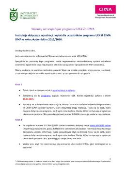 Instrukcje UEK-CIMA DMA 2015/2016