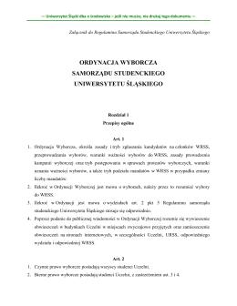 ordynacja wyborcza samorządu studenckiego uniwersytetu śląskiego