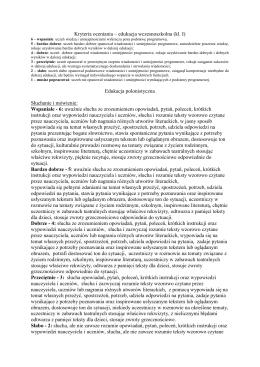 Kryteria oceniania – edukacja wczesnoszkolna (kl. I) Edukacja